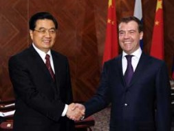 """Chinese President Hu Jintao and Russian President Dmitry Medvedev.""""The advent of Dmitry Medevedev as Russian President has let to several…"""
