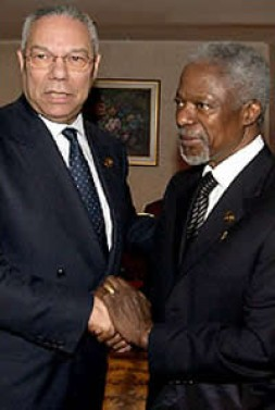 Secretary General Kofi Annan of the United Nations urged world leaders, including Secretary of State Colin L. Powell, to send…
