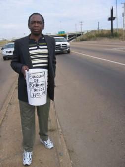 David Eldridge, victim of the hurricane, begging for money.