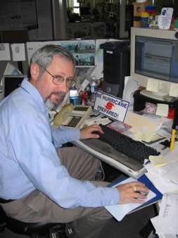 Hurricane expert Mark Schleifstein at his computer.