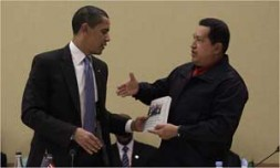 """U.S. President Barack Obama and Venezuela's President Hugo Chávez: """"He must show that his conciliatory political style is not a…"""
