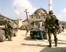 German soldiers at a checkpoint in Kosovo.