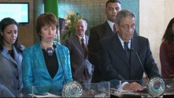 "Catherine Ashton, High Representative of the EU, and Amr Moussa, former Secretary-General of the League of Arab States. ""Transatlantic partners…"