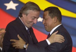"""Nestor Kirchner and Hugo Chavez. """"Venezuela's claim to regional importance signals an attempt to instrumentalize and politicize Mercosur."""""""