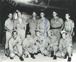 """The crew of Enola Gay before the Hiroshima mission. Beser, standing far right, """"During the planned second atomic attack on…"""