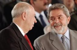 "Brazilian President Luiz Inácio Lula da Silva and Vice President José Alencar. ""Brazil works towards a deepened continental free trade…"