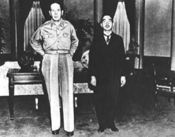 U.S. General of the Army Douglas MacArthur and Emperor Hirohito, at their first meeting, at the U.S. Embassy, Tokyo, 27…