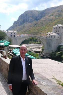 "Dr. Hubertus Hoffmann, President and Founder of the World Security Network, at the famous bridge in Mostar in Bosnia-Herzegovina: ""In…"