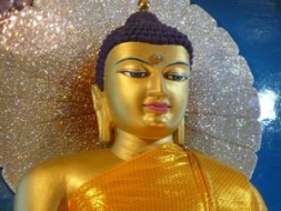 """""""The image of Lord Buddha housed in a diamond throne chamber of the Mahabodhi Temple, the holiest of all Buddhist…"""