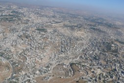 """""""The Holy City of Jerusalem – with the golden Dome of the Rock and the tiny Old City in the…"""