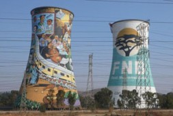 "The two landmark cooling towers of the power station of Orlando in Soweto: ""Africa is us; we are a part…"