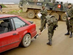 Checkpoint in Kosovo manned by Swiss soldiers.