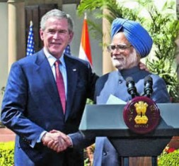 US President George W.Bush and India's Prime Minister Mammahan Singh seal the nuclear deal.