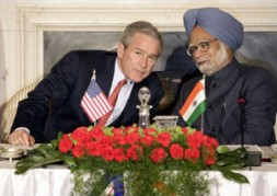 """The US President George W. Bush and India's Prime Minister Manmohan Singh: """"The Indo-US nuclear deal has recently been approved…"""