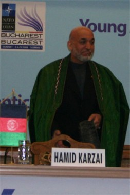 """Afghan President Hamid Karzai speaking at the Young Atlanticist Summit. """"Regarding the new efforts made in Aghanistan, some substantial results…"""