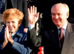 Michael Gorbachev and his wife Raissa applauding the crowd.