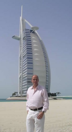 Dr. Hubertus Hoffmann, President of the World Security Network Foundation in front of the Burj Al Arab hotel in Dubai,…