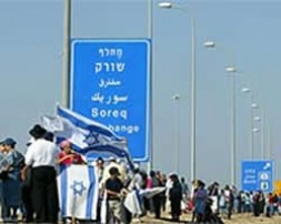 Israeli settlers demonstrating against the planned withdrawal from the Gaza strip.