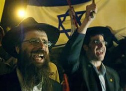 Two Orthodox Jews protest against the Gaza withdrawal plan, in front of Israel's parliament, in Jerusalem.