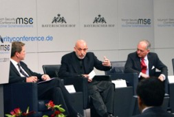 Afghan President, Hamid Karzai, with German Foreign Minister, Guido Westerwelle (left), and the chairman, Ambassador Wolfgang Ischinger (right). It was…