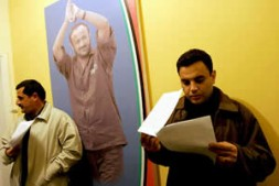 Supporters of Marwan Barghouti on Sunday with copies of the statement that he would not run for office.