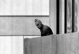 A terrorist during the attack against the Israeli olympic team 1972 in Munich, Germany