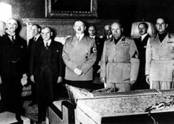 """Provocative Weakness"" by the ignorant European Leaders Chamberlain and Daladier (left) at the Munich Conference in 1938 opened the door…"