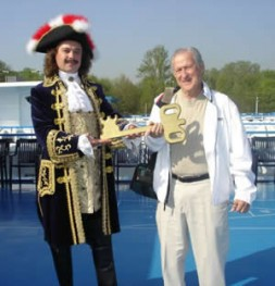 """Professor Norman Levine taking over the key for St. Petersburg, Russia, in a symbolic act: """"Today people over 65 are…"""