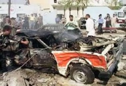 A video grab of remains of a car after a car bomb explosion outside a police station in the northern…