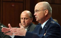General Michael Hayden, now CIA Director and then Deputy National Intelligence Director, testifies on Capitol Hill with Director of Intelligence…