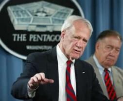 Former secretary of defense James Schlesinger, left, and retired Gen. Chuck Horner, members of the Detention Operations Review Panel speak…