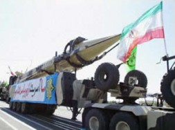 A Shahab-3 missile on display during a military parade in Tehran. A Mullah A-Bomb can only be avoided by threat…