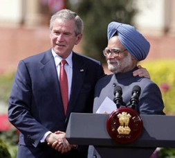 """U.S. President George W.Bush and India Prime Minister Manmohan Singh: """"India is keen to take its involvement with the US…"""