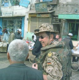 """LtGen (ret) Dr. Ulf von Krause on foot patrol in Kabul, 2004: """"The Afghanistan conflict makes it very clear that…"""
